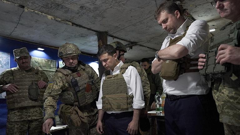 Ukrainas president Volodymyr Zelenskyj i Donetskregionen, östra Ukraina, den 14 oktober 2019.