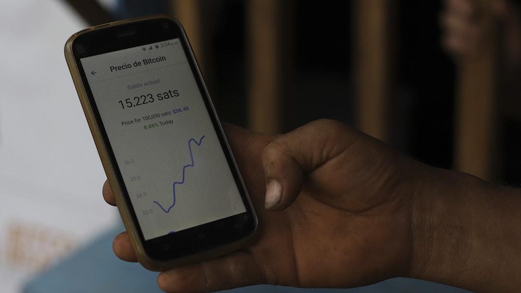 Person håller i en mobil med en graf som går upp och ner.