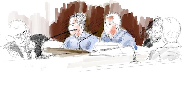 Teckning från rättegången.