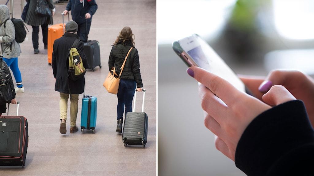 resenärer och mobiltelefon