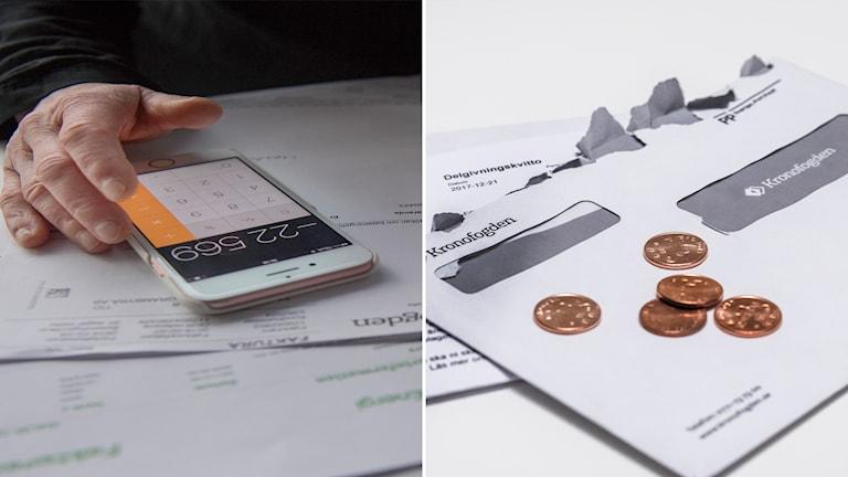 Person sitter med räkningar och brev från Kronofogden.
