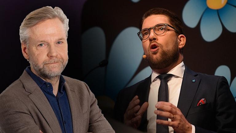 Ekots inrikespolitiske kommentator Tomas Ramberg och Jimmie Åkesson (SD).