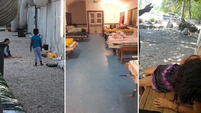 Hundratals flyktingbarn har hållits i interneringsläger på den lilla östaten Nauru, betalda av Australien. Läkare har larmat att allt fler av barnen blivit apatiska och slutat äta/dricka som flickan till vänster. I åratal har barnen inte fått gå i skolan och familjerna inte vetat om de någonsin ska få komma till Australien. Vårdresurserna på ön är mycket knappa.