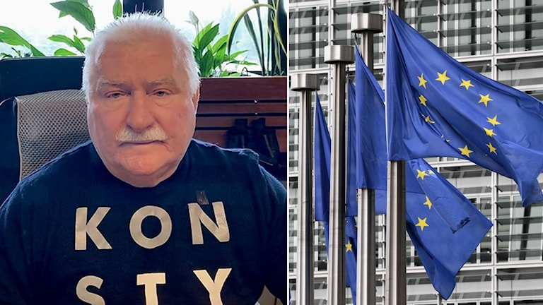 Lech Wałęsa & EU-flaggor.