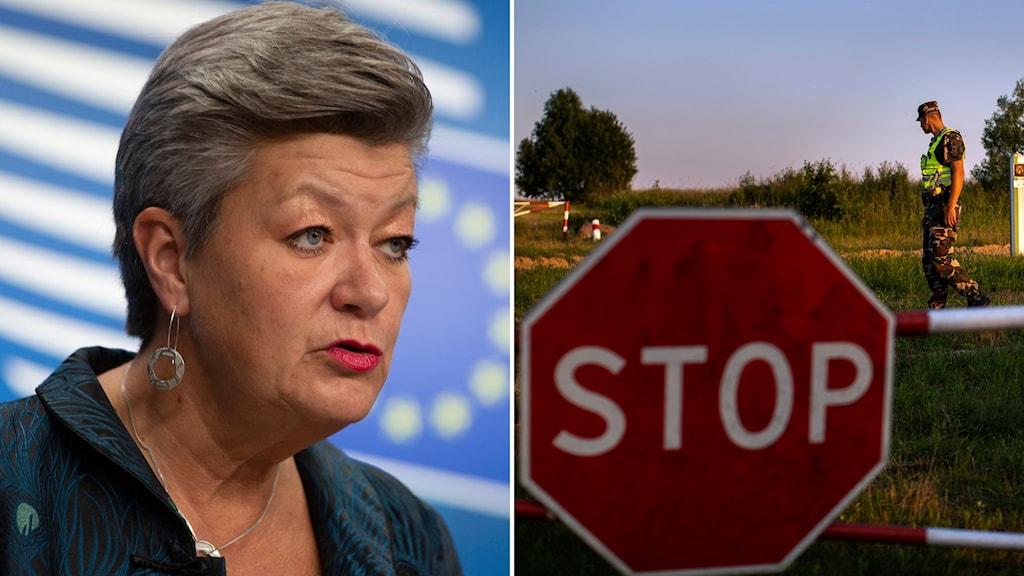 Migrationskommissionär Ylva Johansson och gränspostering mellan Litauen och Belarus