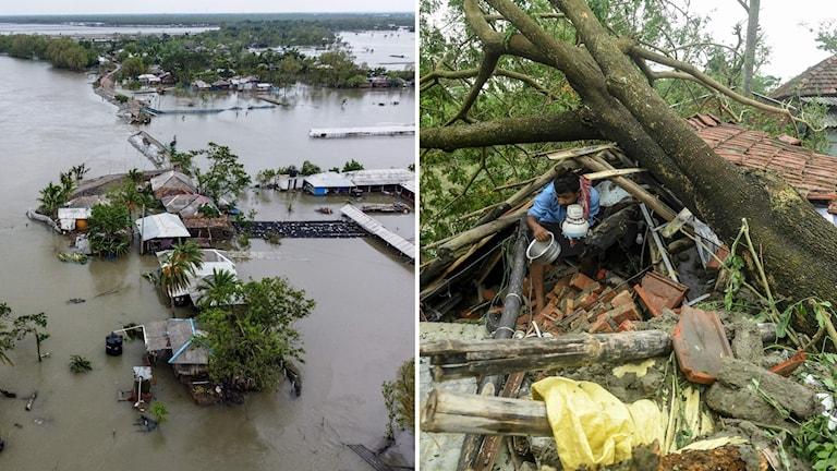 Överallt är de materiella skadorna omfattande, tusentals hus är förstörda