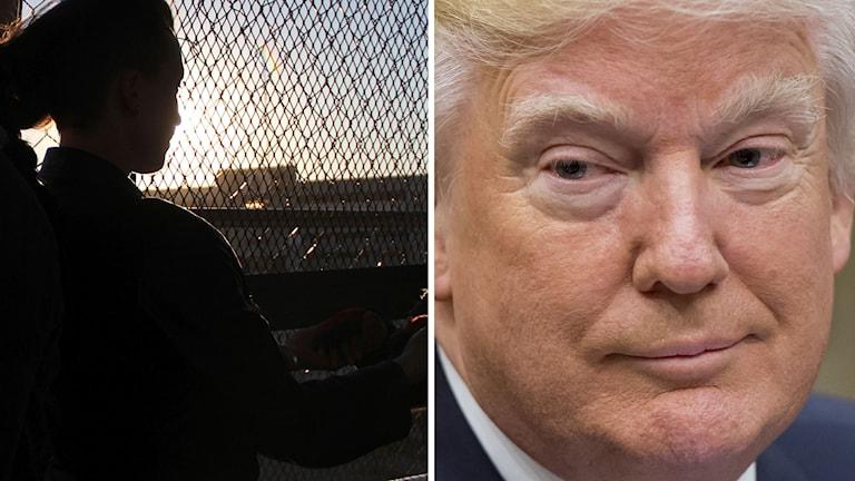 Donald Trump och en bild på en kvinna vid gränsen mellan USA och Mexiko.