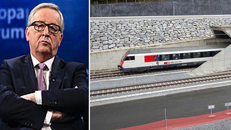 EU-kommissionens ordförande Jean-Claude Juncker och Gotthardtunneln. Foto: TT