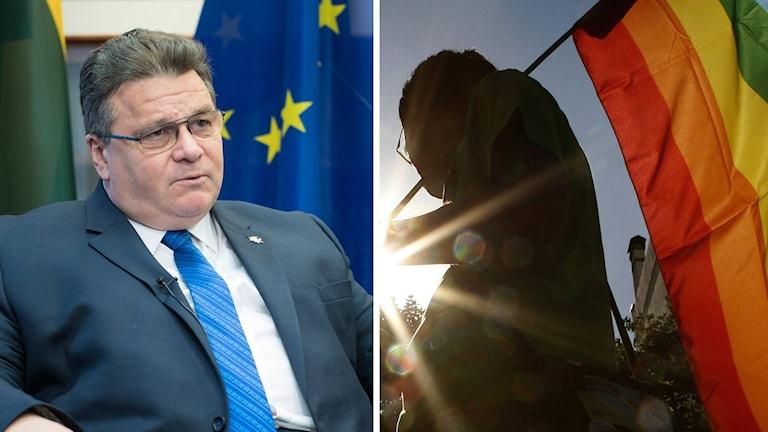 Delad bild: Först en på Litauens utrikesminister Linas Linkevičius och sedan en man som håller i en prideflagga.