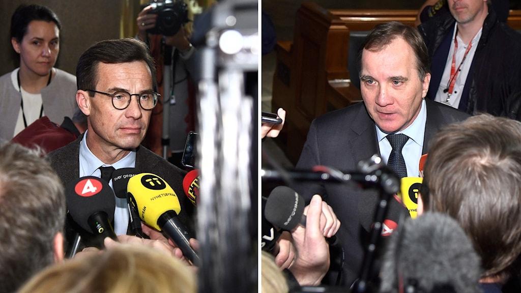 Ulf Kristersson (M) och Stefan Löfven (S) efter mötena med talmannen.