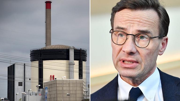 Tvådelad bild: Kärnkraftsreaktor och man i glasögon.