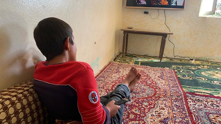 Yazidiske före detta IS-slaven Haval, 11 år, tittar på tv i det hus dit räddade yazidier förs innan de kan återförenas med sina familjer.