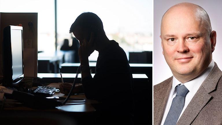 Fotomontage av en man som talar i telefon på ett kontor och Ola Brinnen.