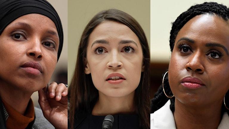 Ilhan Omar, Alexandria Ocasio-Cortez och Ayanna Pressley är tre av de utpekade fyra representanthusledamöterna.