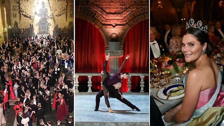 Tredelad bild: Dans i Gyllene salen, Dans i blå hallen, Kronprinsessa i rosa klänning.
