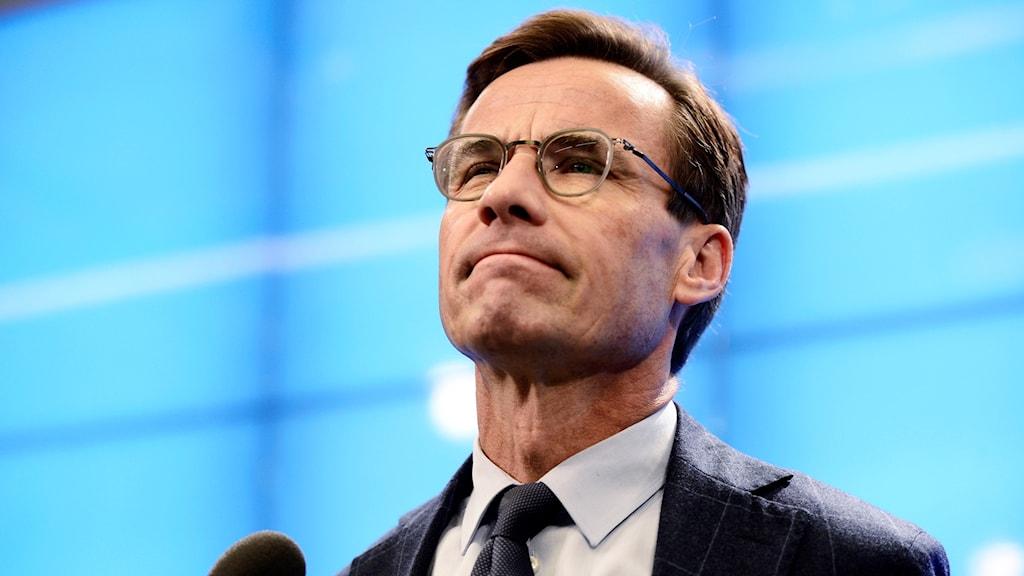 Moderaternas partiledare Ulf Kristersson (M) under pressträffen i riksdagen.