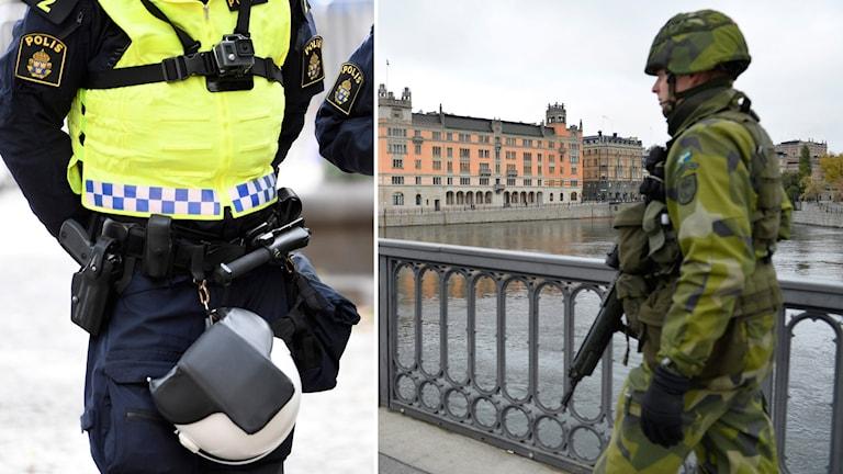 Delad bild: polis i uniform och soldat framför Rosenbad