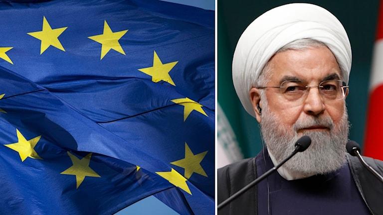 EU-flagga och Irans ledare Hassan Rouhani.