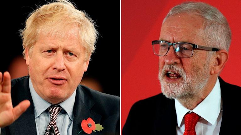 Delad bild på Boris Johnson och Jeremy Corbyn.