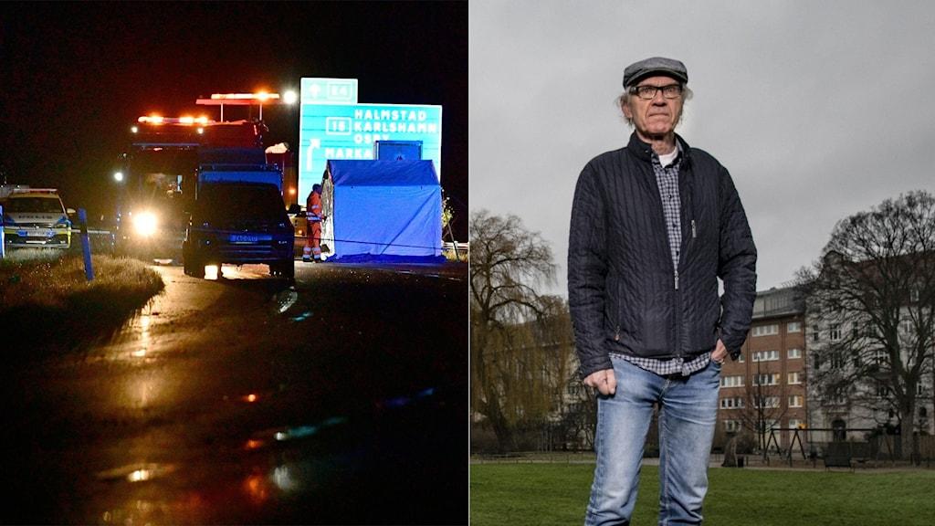 Olycksplatsen där Lars Vilks och två poliser avled. Foto TT. Montage:SR,