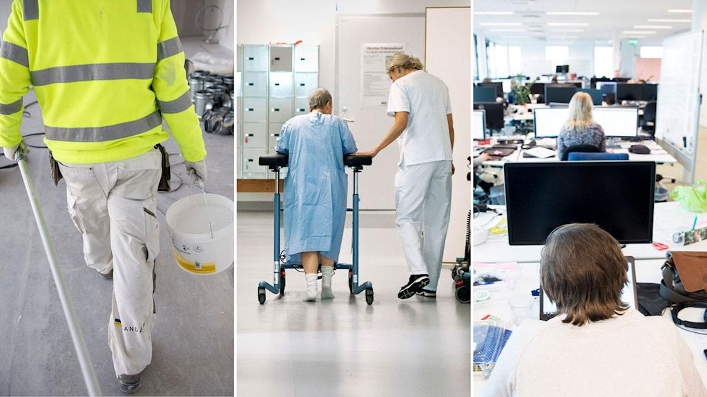 Målare bär en hink med målarfärg, sjukvårdspersonal går med gammal kvinna med rollator i en sjukhuskorridor, personer i rad framför datorer på ett kontor.