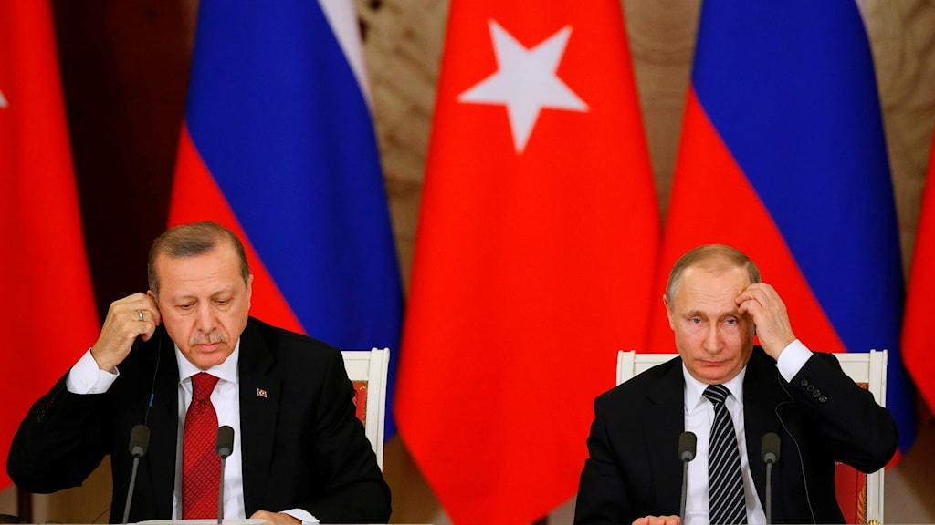 Turkiets president Erdogan och Rysslands president Putin.