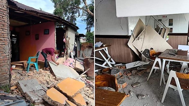 Förödelse efter jordskalvet