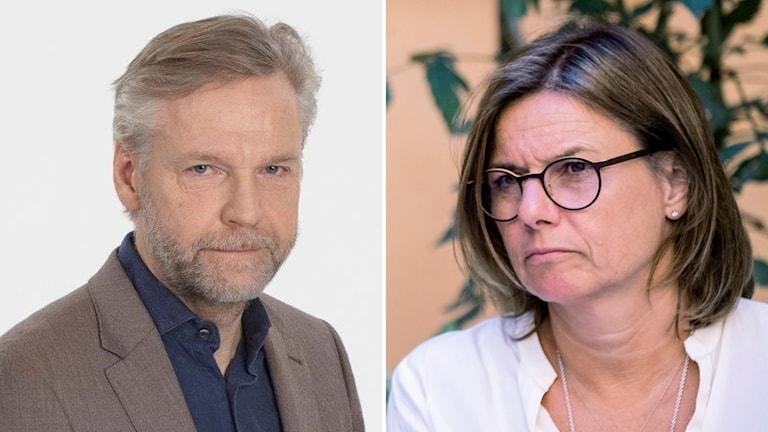 Tomas Ramberg, Ekots inrikespolitiska kommentator, och miljöpartiets språkrör Isabella Lövin.