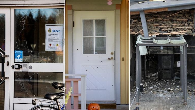 Tre olika dörrar/ingångar som har förstörts på olika sätt.
