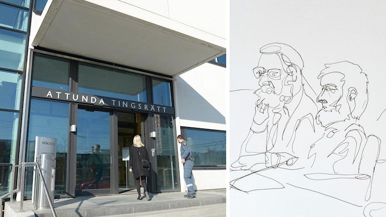 Bildsplit på Attunda  Tingsrätt och bildskiss på den terrormisstänkta