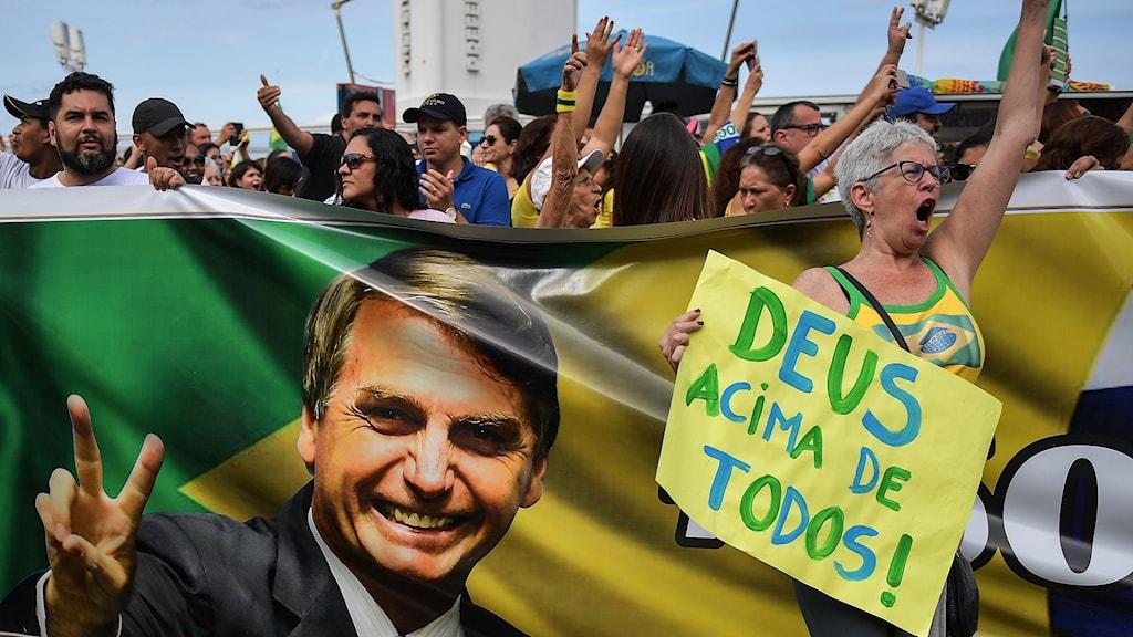 Anhängare till den högerradikala kandidaten Jair Bolsonaro.