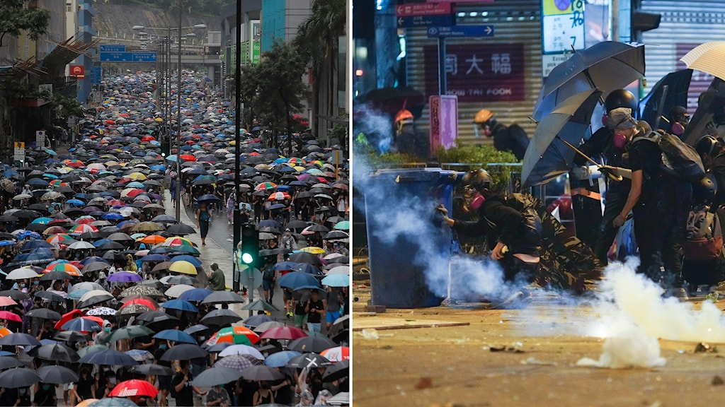 Montage på protesterna i Hongkong.