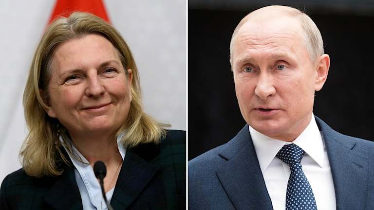Österrikes utrikesminister Karin Kneissl och Rysslands president Vladimir Putin.
