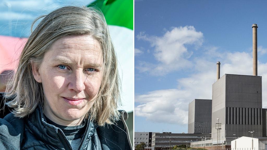 Ansiktsbild av miljöminister Karolina Skog och kärnkraftverket i Barsebäck.