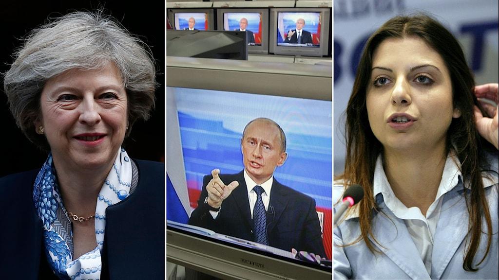 Tredelad bild: Theresa May, i blå scarf, ler. Putin, i blå slips, på en tv-skärm, ser allvarlig ut. Margarita Simonyan, i blå kavaj, ser allvarlig ut