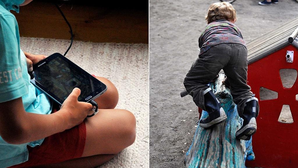 Ett barn med en surfplatta, ett barn som klättrar på en klätterställning.