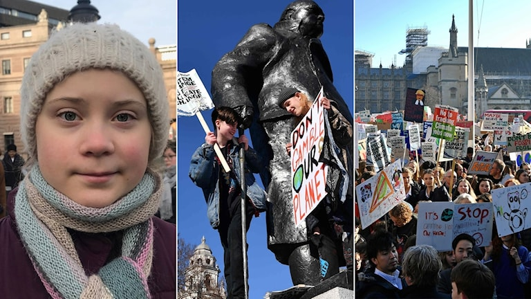 Greta Thunberg, demonstranter i London.