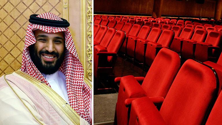 Arkivbild. Saudiarabiens kronprins Mohammed bin Salman och biostolar.