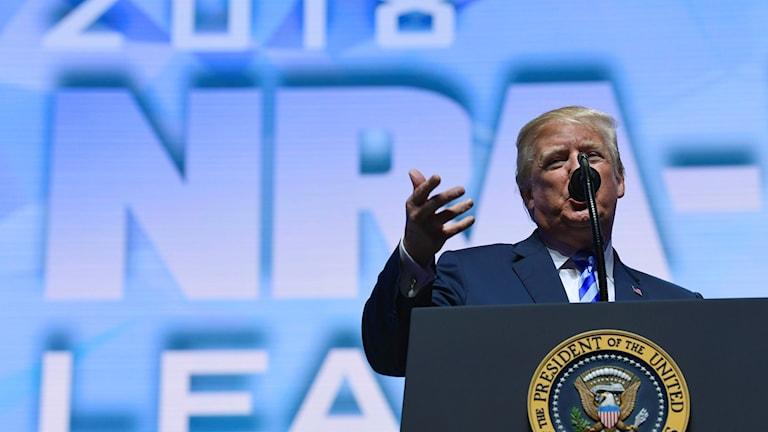 USA:s president Donald Trump vid vapenlobbyn NRA:s årliga konferens.