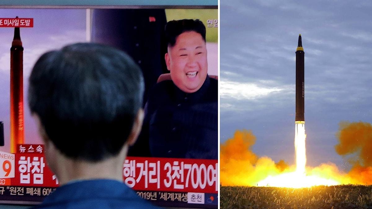 En man tittar på nyheterna om Nordkoreas nya robottest och en arkivbild.