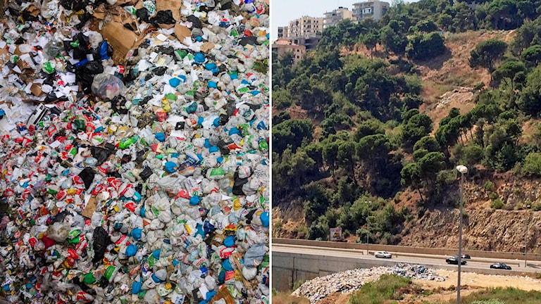 Fotomontage med en sophög samt en exemplifiering på hur det ser ut i Libanon.