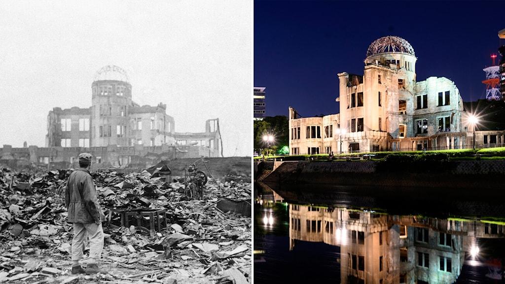Delad bild. Förödelsen efter atombomben över Hiroshima 1945, och samma byggnad 75 år senare.
