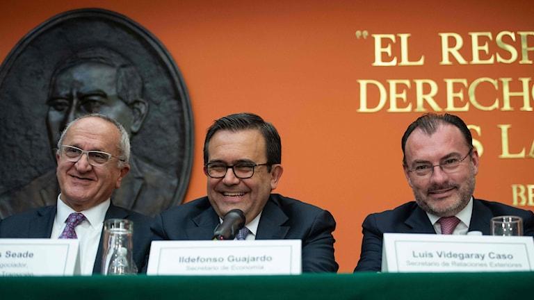 Mexikos chefsförhandlare i Nafta-förhandlingarna, finansministern Ildefonso Guajardo och utrikesministern Luis Vedegaray.