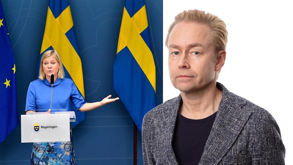 Montage med Magdalena Andersson och Ekots politikkommentator Fredrik Furtenbach