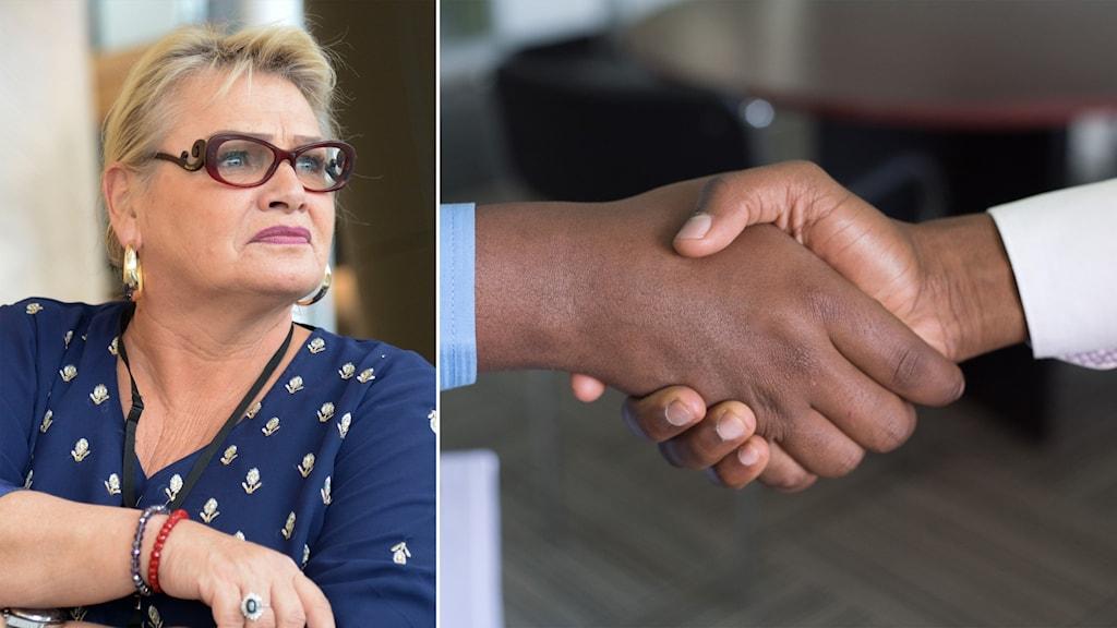 Delad bild: kvinna och ett handslag.