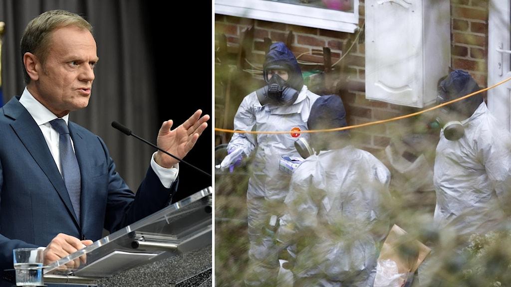 Donald Tusk och personal i skyddskläder undersöker Sergej Skripal hus.