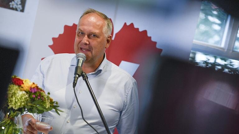 Vänsterpartiets ledare Jonas Sjöstedt sommartalar i Umeå.