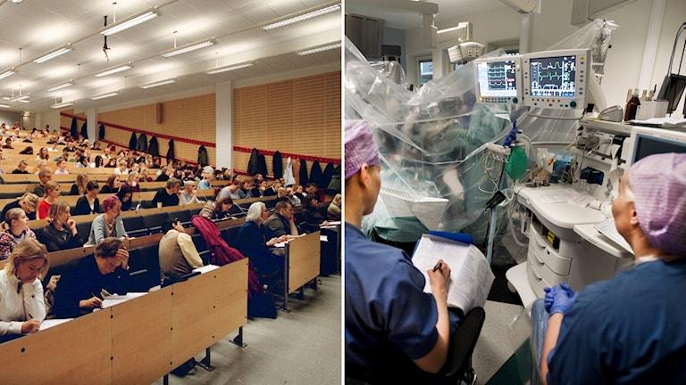 En lektionssal och operationssjuksköterskor.