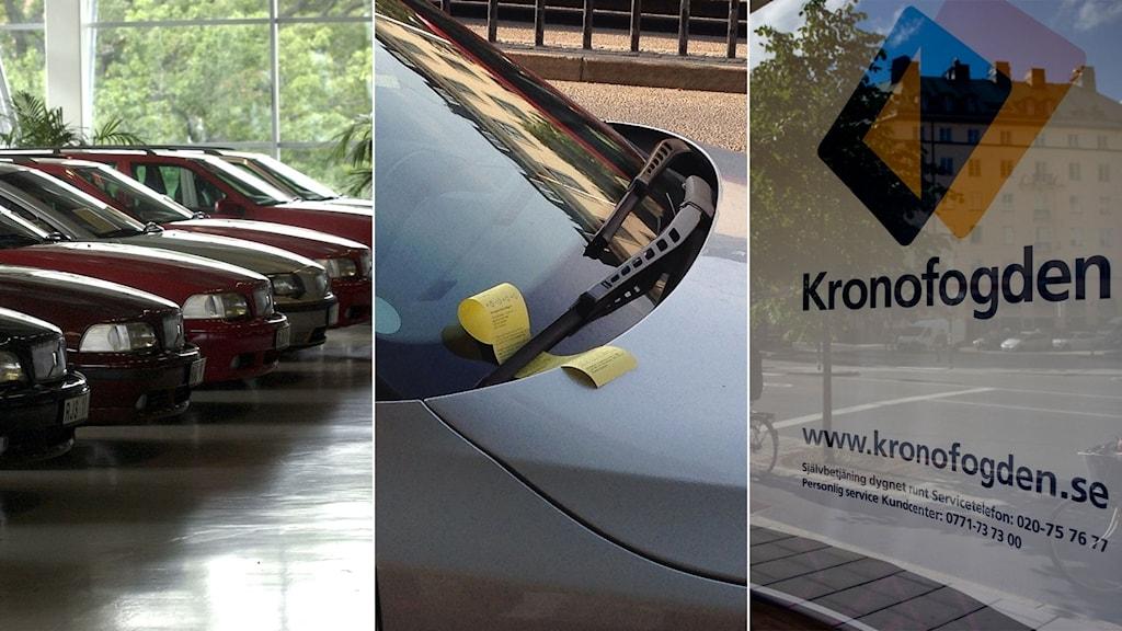 Tredelad bild: Nya bilar, en parkeringsbot och en bild på Kronofogdens kontor.