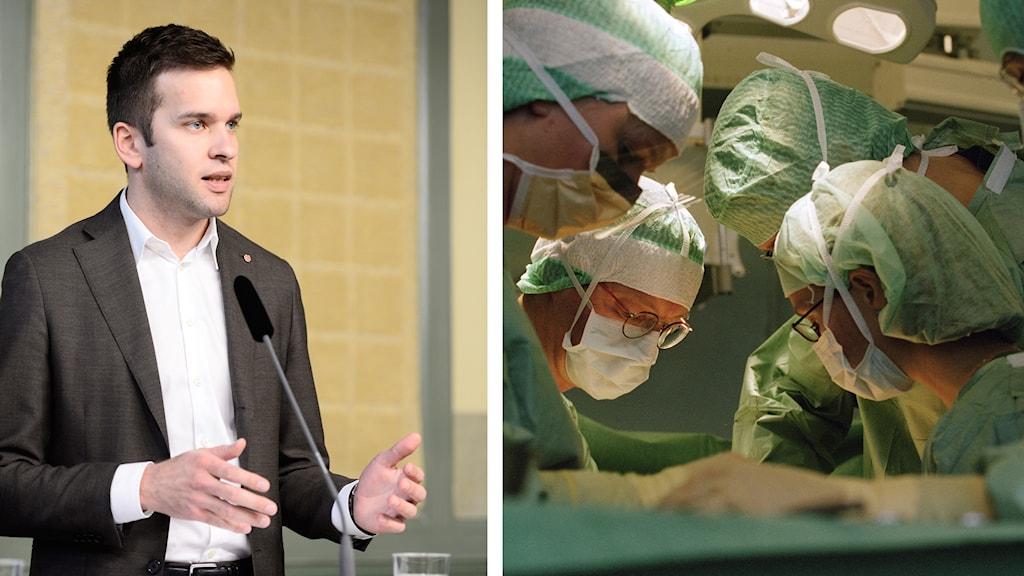 Sjukvårdsminister Gabriel Wikström, operationssal.